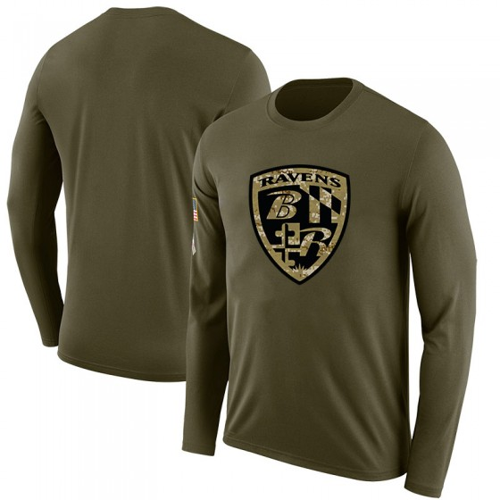 Men's Blank Baltimore Ravens Salute to Service Sideline Olive Legend Long Sleeve T-Shirt