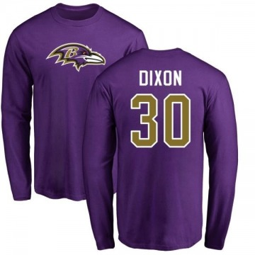 Men's Kenneth Dixon Baltimore Ravens Name & Number Logo Long Sleeve T-Shirt - Purple