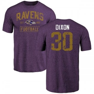 Men's Kenneth Dixon Baltimore Ravens Purple Distressed Name & Number Tri-Blend T-Shirt