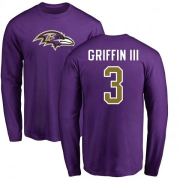Men's Robert Griffin III Baltimore Ravens Name & Number Logo Long Sleeve T-Shirt - Purple