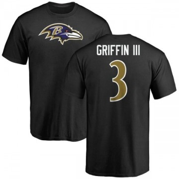 Men's Robert Griffin III Baltimore Ravens Name & Number Logo T-Shirt - Black