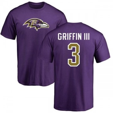 Men's Robert Griffin III Baltimore Ravens Name & Number Logo T-Shirt - Purple