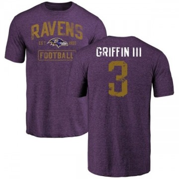 Men's Robert Griffin III Baltimore Ravens Purple Distressed Name & Number Tri-Blend T-Shirt
