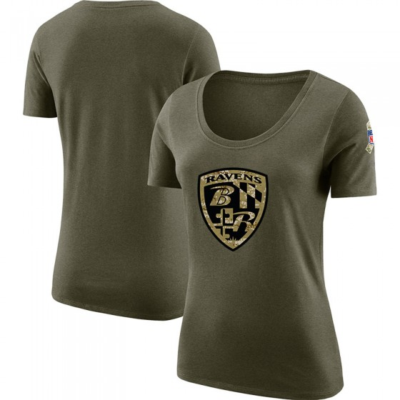 Women's Blank Baltimore Ravens Salute to Service Olive Legend Scoop Neck T-Shirt