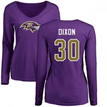 Women's Kenneth Dixon Baltimore Ravens Name & Number Logo Slim Fit Long Sleeve T-Shirt - Purple