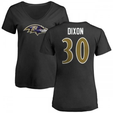 Women's Kenneth Dixon Baltimore Ravens Name & Number Logo Slim Fit T-Shirt - Black