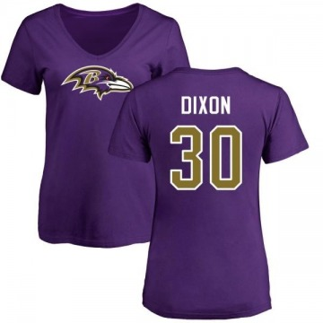Women's Kenneth Dixon Baltimore Ravens Name & Number Logo Slim Fit T-Shirt - Purple