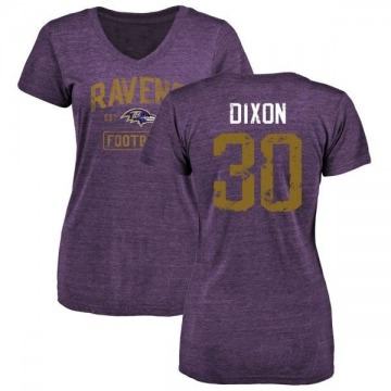 Women's Kenneth Dixon Baltimore Ravens Purple Distressed Name & Number Tri-Blend V-Neck T-Shirt
