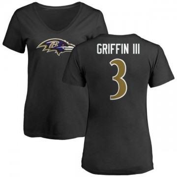 Women's Robert Griffin III Baltimore Ravens Name & Number Logo Slim Fit T-Shirt - Black