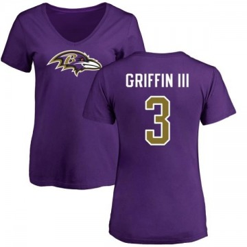 Women's Robert Griffin III Baltimore Ravens Name & Number Logo Slim Fit T-Shirt - Purple