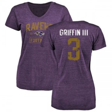 Women's Robert Griffin III Baltimore Ravens Purple Distressed Name & Number Tri-Blend V-Neck T-Shirt