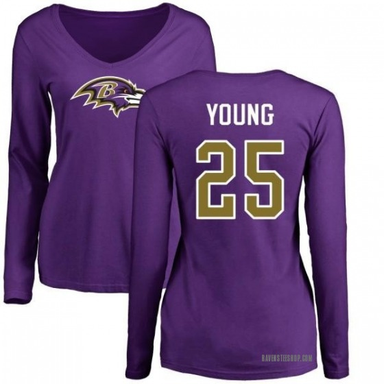 Women's Tavon Young Baltimore Ravens Name & Number Logo Slim Fit Long Sleeve T-Shirt - Purple