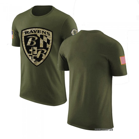 Youth Blank Baltimore Ravens Olive Salute to Service Legend T-Shirt