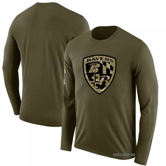 Youth Blank Baltimore Ravens Salute to Service Sideline Olive Legend Long Sleeve T-Shirt
