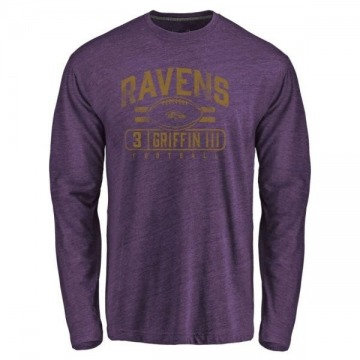 Youth Robert Griffin III Baltimore Ravens Flanker Tri-Blend Long Sleeve T-Shirt - Purple